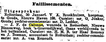 Nieuwe Rotterdamsche Courant - 31 januari 1924 - faillissement