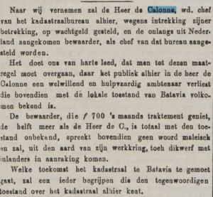 1875-12-08 Java-bode - ontevreden ambtenaren irt vertrek FJ DE CALONNE